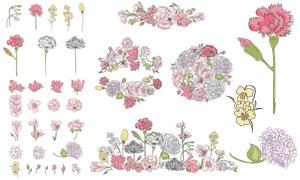 手绘效果康乃馨等花朵创意矢量素材