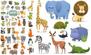 长颈鹿大象等卡通动物主题矢量素材