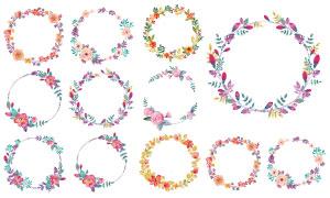 花草组成的圆形的装饰边框矢量素材