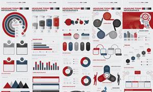 红色主色调的信息图表创意矢量素材