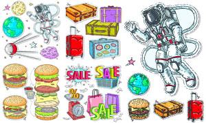 手绘涂鸦风格汉堡包等创意矢量素材