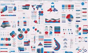 红蓝配色的信息图创意设计矢量素材