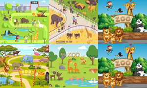 游客与动物园里的动物卡通矢量素材