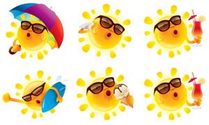 拟人化的夏天太阳创意矢量素材V01