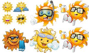 拟人化的夏天太阳创意矢量素材V02