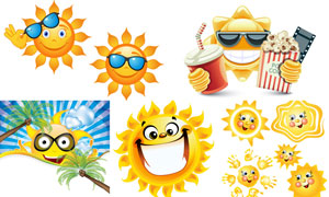 拟人化的夏天太阳创意矢量素材V03