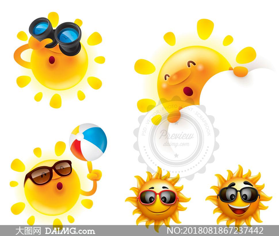 拟人化的夏天太阳创意矢量素材v06图片