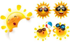 拟人化的夏天太阳创意矢量素材V06
