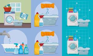 洗衣清洁产品主题广告设计矢量素材