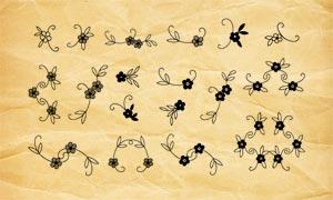 可爱的小花朵和花藤PS笔刷