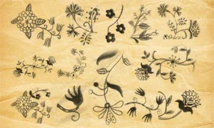 手绘铅笔花朵PS笔刷