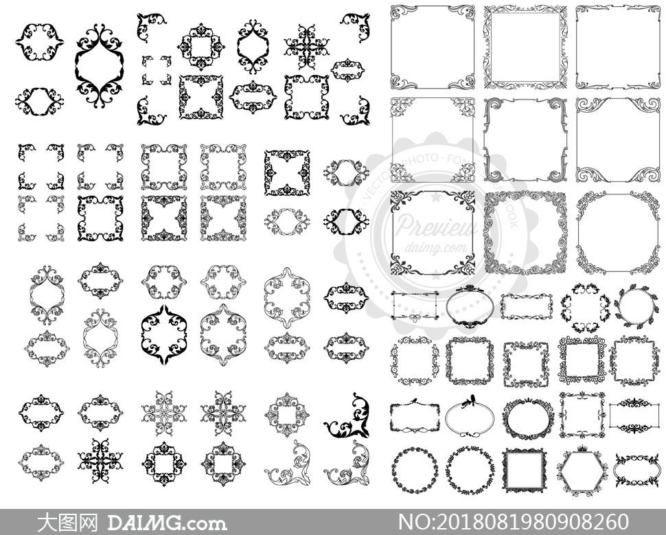 黑白花纹装饰边框创意设计矢量素材