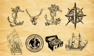 海盗船和宝藏PS笔刷
