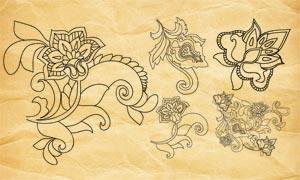 創意的線描花朵和花紋PS筆刷
