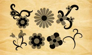 矢量風格花朵裝飾PS筆刷