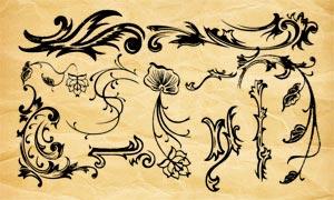 手绘主题风格花纹装饰PS笔刷