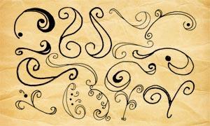 旋涡状手绘花纹装饰PS笔刷