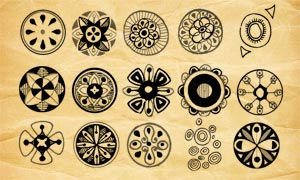 復古圓形涂鴉圖形PS筆刷