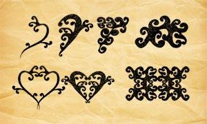 錯綜復雜的花紋和心形PS筆刷
