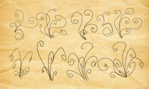 旋渦狀虛線花紋裝飾PS筆刷