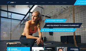 健身房俱樂部網站版式設計分層模板