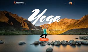 瑜伽健身會所網站版式設計分層模板