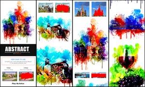 絢麗的水彩畫和流淌背景PS動作