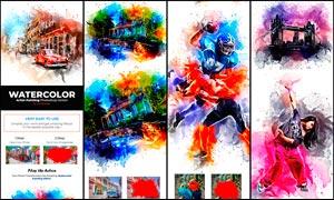 絢麗的水彩畫和繪畫藝術效果PS動作