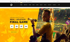 黃黑配色體育賽事資訊網站分層模板