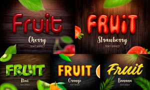 5款逼真的水果主题艺术字PSD模板