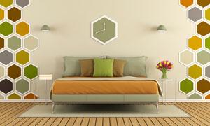 双人床与墙上的蜂窝状装饰高清图片