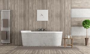 房间浴缸与绿色的植物摄影高清图片