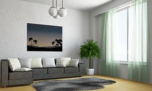 浅绿色窗帘的客厅内景摄影高清图片