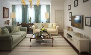 欧式装修风格房间内景摆设高清图片
