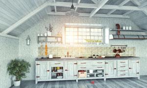 厨房橱柜与绿色的植物摄影高清图片