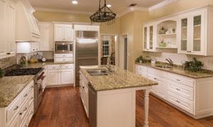 宽敞的开放式厨房内景摄影高清图片