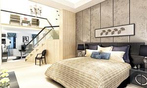 卧室房间内景布置效果摄影高清图片
