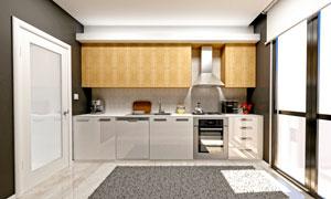 关着门的厨房内景陈设摄影高清图片