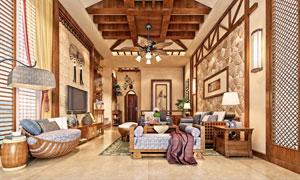 中西合璧风格房间内景摄影高清图片