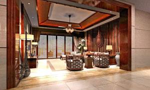 中式装修风格宽敞客厅内景高清图片