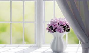 放在窗台上的花瓶渲染设计高清图片