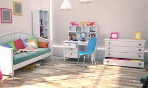 儿童房的桌椅家具摆放摄影高清图片