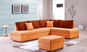 画框落地灯与组合沙发摄影高清图片