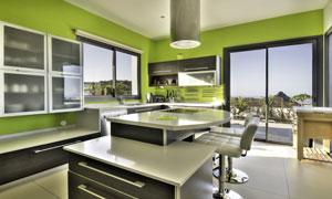 现代简约风开放式厨房内景高清图片