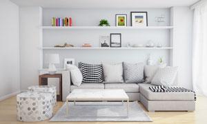 房间陈列架与沙发抱枕摄影高清图片