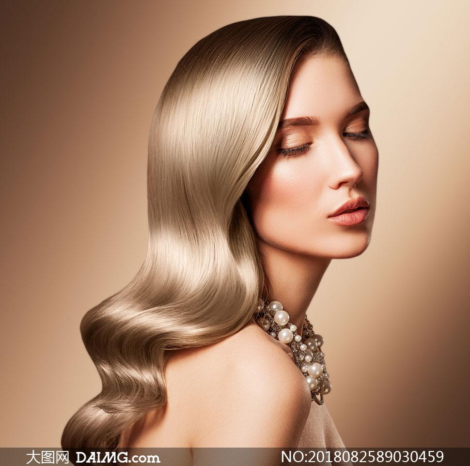 秀发美女模特人物写真摄影高清图片