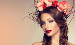 鲜花干枝发饰美女人物摄影高清图片