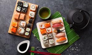 镜头俯拍视角下的寿司摄影高清图片