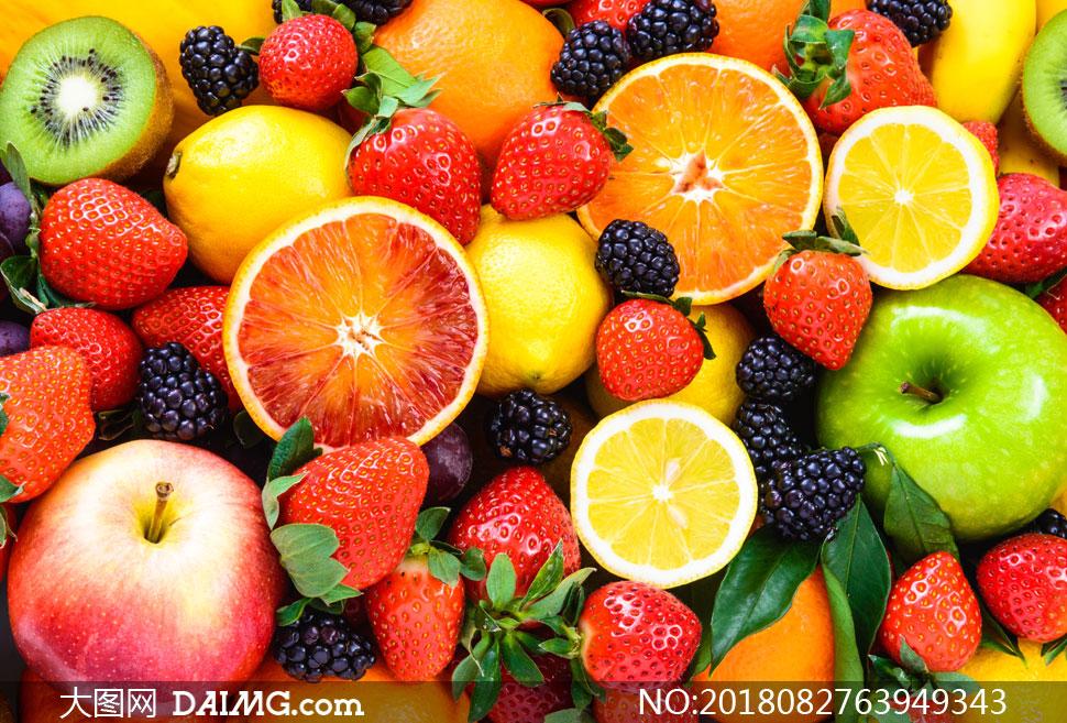 混合在一起的多彩水果摄影高清图片