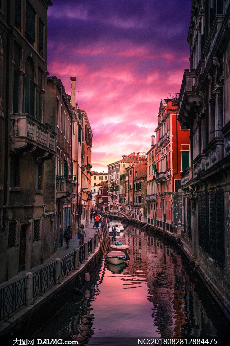 水城威尼斯的街巷风光摄影高清图片